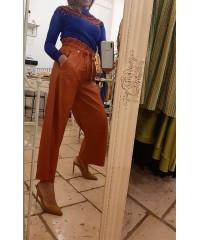 Pantaloni Lastè Fashion Glam Rust Leather Gamba Larga