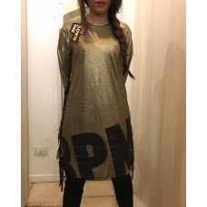 T-SHIRT DONNA LUNGA INDIAN GOLD COTONE STAMPA FRANGE ORO STREET STYLE BPM SUPREME BEAT