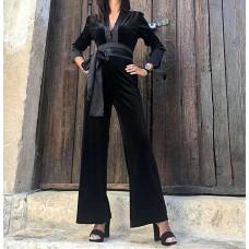 Abito tuta Elisabetta nero ciniglia pantaloni larghi