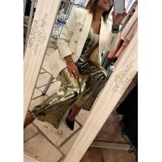 Jumpsuit Dakota Luxury Edition Tempestato Di Paillettes Oro
