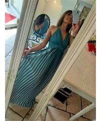 Long Dress Balencia Green Gray Glitter Plissé