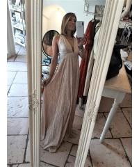 Long Dress Ever Plissè Lamè Silver Pink