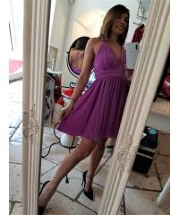 Mini Dress Loryd Plissè Caramel Glam