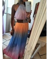 Long Dress Ibiza Plissè A Degradè