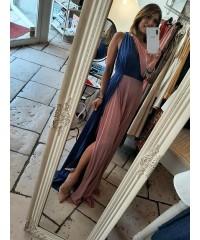 Long Dress Belen Monospallla Pink Blue Lurex Plissè