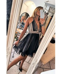 Mini Dress Guapa Black Nude Tulle Glam