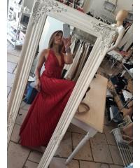 Long Dress Vale Rosso Satin Plissè