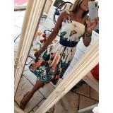 Short Dress Corto Bon Ton Bianco Stampa Tropical