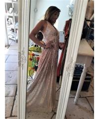 Long Dress Penelope Total Paillettes Pink Degradè