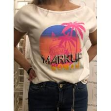 T-Shirt Bianco Cotone Markup Woman Stampa Palma Cuba