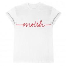T-Shirt Bianca Cotone My T-Shirt Con Scritta Ricamata Rossa
