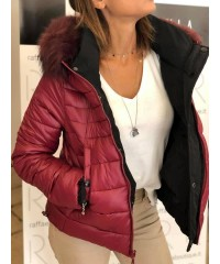 Piumino Reversibile Markup Woman Nero Rosso Passion Cappuccio