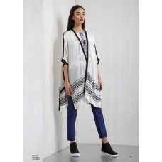 CARDIGAN MACAO AMPIO OVER STYLE BLACK AND WHITE TESSUTO LINO MIVITE