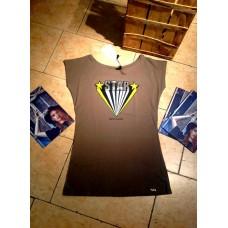 T-shirt Star Cotone Stampa Paillettes Manica Corta Barchetta Queguapa