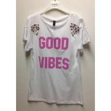 T-shirt Lunga Cotone Orikon Good Vibes Strass Colors Queguapa