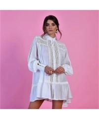 Abito Giuppy Queguapa Milano Bianco Camicia Ricami Manica Lunga