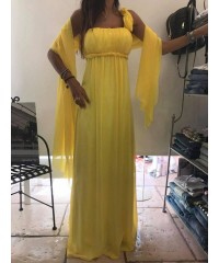 ABITO TOTAL LONG CRÊPE COUTURE ALBERTA CERIMONY YELLOW CHIC