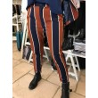 PANTALONE TESSUTO STRETCH RIGHE BLU TABACCO PINCES TASCHE FRANCIA MISS MISS BY VALENTINA