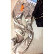 Pantalone Firenze Stretch Pelle Ecologica Maxi Zip Black Orange